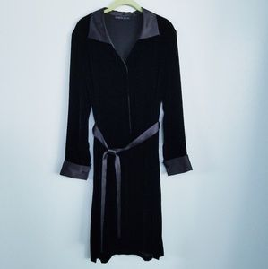 LAFAYETTE 148 Velvet Dress Belted Black size 10